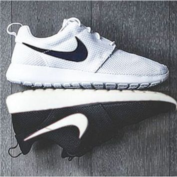 NIKE Women Men Running Roshe Sport Casual Shoes Sneakers White black hook