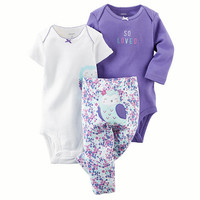 """Carter's Girls 3 Piece Purple """"So Loved"""" Bodysuit, White Owl Bodysuit and Floral Owl Applique Turn Me Around Pant Set"""