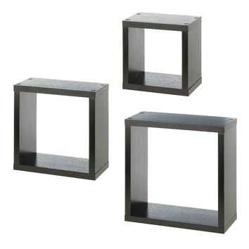 Square Dark Wooden Floating Wall Cubes