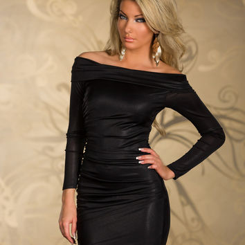 Black Off Shoulder Long Sleeve Ruched Bodycon Mini Dress