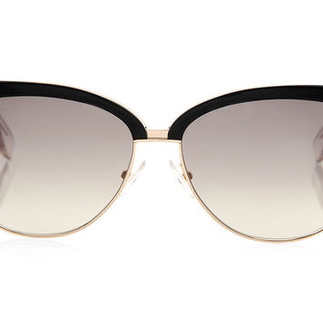 Jimmy Choo - Araya Black Acetate and Gold Metal Framed with Zebra Print Detail Arms Sunglasses