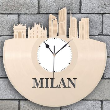 Anniversary Gift For Men, Personalized Clock, Milan Clock, Italian Gift, Italy Travel, Milano Skyline, Modern Clock, Travel Clock Wall Decor