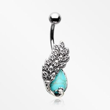 Antique Turquoise Enchanted Phoenix Belly Button Ring