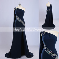 Elegant Navy Blue Women Formal Dresses with Train Charming Sheath Mermaid Evening Dresses Exquisite Beading One-shoulder Long Celebrity Gown