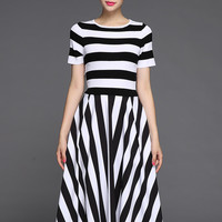 Black and White Stripe Midi A-Line Dress