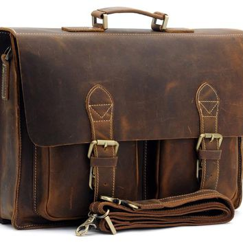 Top Grade Male Men's Vintage Real Crazy Horse Leather Briefcase