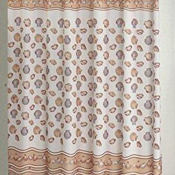 BenandJonah Collection Fabric Shower Curtain 70 x 72 inch  Seashell Ivory