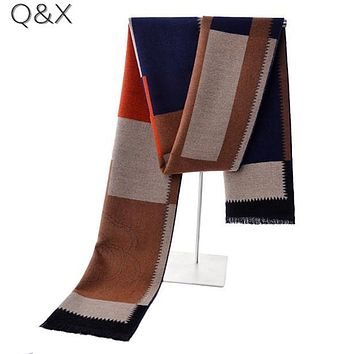 SC20 2017 New Modal Warm Winter Design Fashion Plaid Brushed Long Scarf Male Elegant Men Striped Weaved Business Shawl 180*30cm