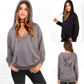 Hooded Long Sleeve Front Pocket Sweater