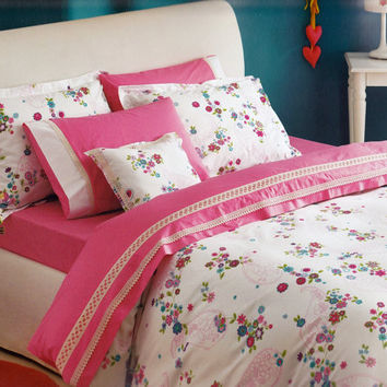 Custom Queen Size Dark Pink Turquoise Aqua Blue Floral Paisley Printed Bedding Set with Cream Cotton Lace 6 pcs