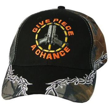 Mens Camo Hat GIVE PIECE A CHANCE - Don't Tread on Me Baseball Cap