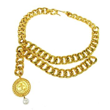 Chanel Vintage Gold Double Link Pearl Coin Medallion Choker Necklace