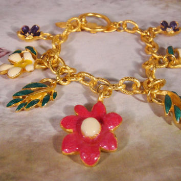 1960's Enamel Flower Power Charm Bracelet done in a Gold Matte Finish
