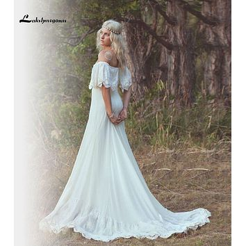 Hot Sale Cheap Spring Beach Lace Wedding Dress Off Shoulder Appliques Summer Bridal Gowns hochzeitskleid Custom Made
