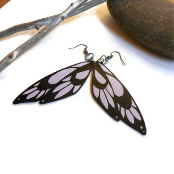Wing earrings painted wood pale lavender and black with gun metal grey earring hooks wood jewelry