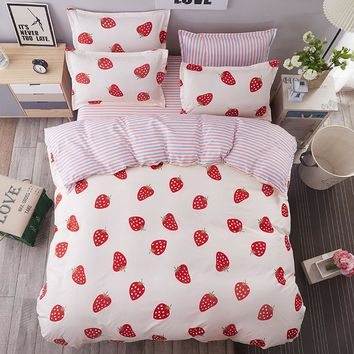 White Red Strawberry Bedding Sets King Queen Twin Full Size Beding Set 4pcs Duvet Cover Sheet housse de couette Totoro cama
