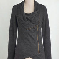 Travel Mid-length Long Sleeve Airport Greeting Cardigan in Charcoal by ModCloth