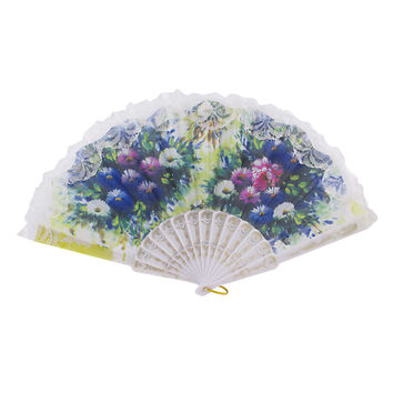 UXCELL White Frame Chrysanthemums Pattern Art Craft Spanish Style Hand Fan Decorative