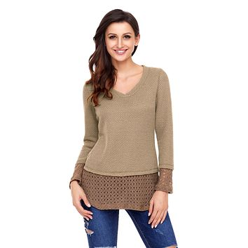 Chicloth Tan Lace Sleeve and Hem Thermal Knit Sweater