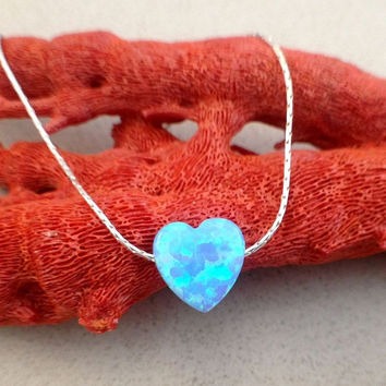 Heart opal necklace, light blue 10X10mm heart opal pendant, sterling silver 925 necklace, romantic gift for her, love necklace Valentine Day