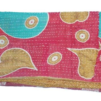 Vintage Light Weight Kantha Quilt Gudri Reversible Throw Ralli Bedspread Bedding India T83