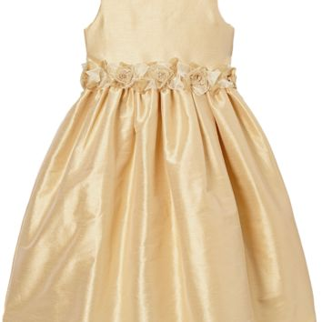 Champagne Poly Silk Dress with Organza Flower Waist (Girls 2T to Size 8)