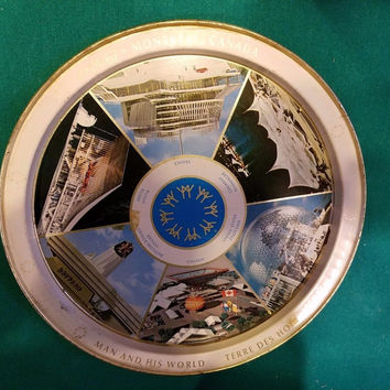 Vintage ORIGINAL EXPO67 MONTREAL CANADA METAL COLLECTIBLE TRAY