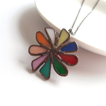 Stained glass pendant, colorful jewelry, contemporary, statement pendant, funky necklace, rainbow necklace, stained glass jewelry, Big bang