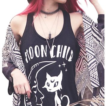 Women Black Tank Top Fashion Moon Child Letter Print Cats Punk Rock Graphic Tee Sleeveless Women T-Shirt