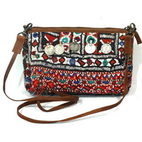 Gypsy Banjara Tribal Cross Body Bag , Removal Strap Bag , Tribal Banjara Clutch Bag , Leather Clutch Bag , Tribal Shoulder Bag