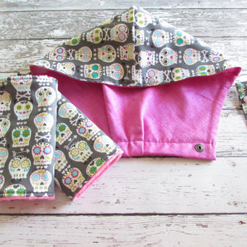Sugar Skulls Hoodie Hood - To Match  Tula, With FREE Reach Straps - Sugar Skulls Drool Pads, You pick - Ready To Ship