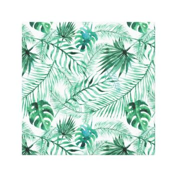 Tropical Palm Tree Leaves Pattern Canvas Print