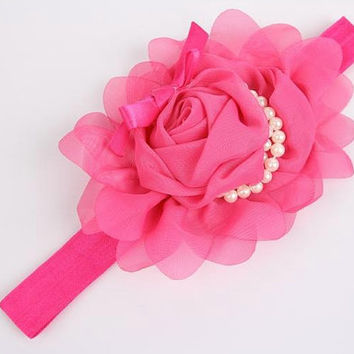 Chiffon Rose Pearl Headband - infant, toddler and girls headband, couture headband