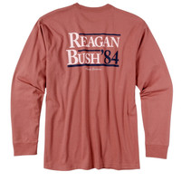 Rowdy Gentleman Long Sleeve Tee- Reagan Bush '84- Red