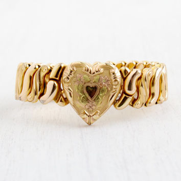Vintage Heart Expansion Bracelet - Mid Century WWII 1940s Gold Filled Floral Phoenix Speidel Stretch Sweetheart Jewelry