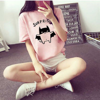 Summer Kawaii Bat Printed Tops