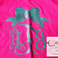 Bow with Monogram T-Shirt Custom Sassy Glitter Tee Shirt Sparkle like Diamonds Monogrammed Tee Short Sleeve T-Shirt Monogram Gifts