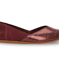 TOMS Wine Crackled Leather Women's Jutti Flats Red