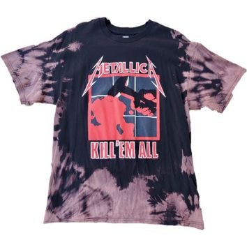 "Hand Bleached Metallica "" Kill Em All"" Band Tee"