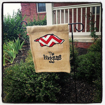Burlap Razorback or Favorite Team Garden Flag by tiffanystrong