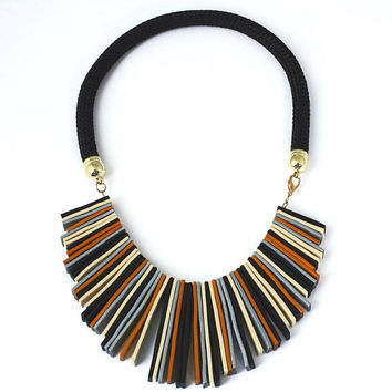 design necklace polymer clay statement necklace clay jewelry modern necklace geometric design boho style bohemian