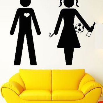 Wall Sticker Vinyl Decal In Love With Bad Girl Smoking Drinking Soccer Unique Gift (z1054)