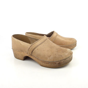 Leather Wooden Clogs Shoes Vintage 1980s Distressed Tan Brown Denmark Size 38
