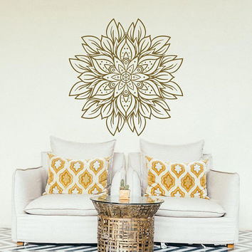 NEW Flower Mandala Wall Decal- Gold Mandala Design Vinyl Decal Sticker for Bedroom Living Room Yoga Studio Meditation Decor #237