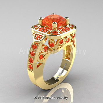 Art Masters Classic 14K Yellow Gold 2.0 Ct Orange Sapphire Engagement Ring Wedding Ring R298-14KYGOS