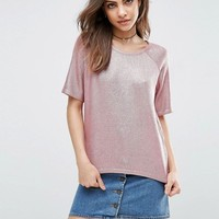ASOS Metallic Cropped Tee in Knit at asos.com