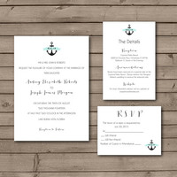 Simple Anchor Wedding Invitations or Wedding Suite: Choose Your Own Color Banner
