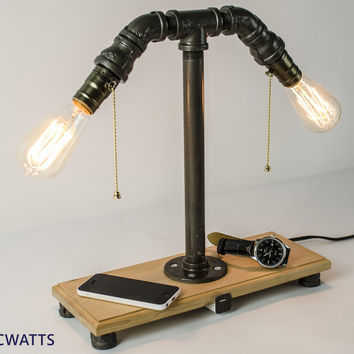Excellent XMAS Gift- Industrial style lamp with iphone ipad ipod USB charger - Edison Bulb