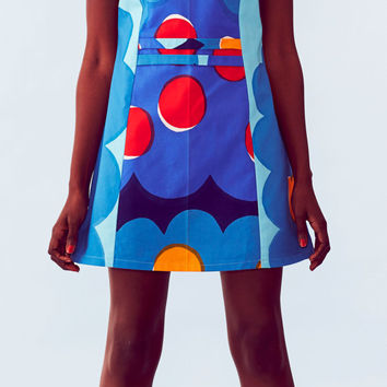 Clouds & Polka Dot, Cap Sleeve, Mod Dress, Marimekko Fabric, Colourful Mini Dress