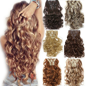 "Hair Extention Full Head Clip in on Synthetic 24"" Curly Wavy 8PCS"